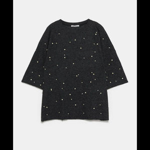 ZARA l  Soft Sweater with Pearl Beads